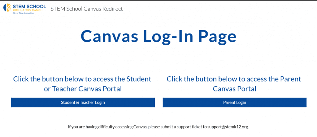Student-Parent Canvas Log-In Page