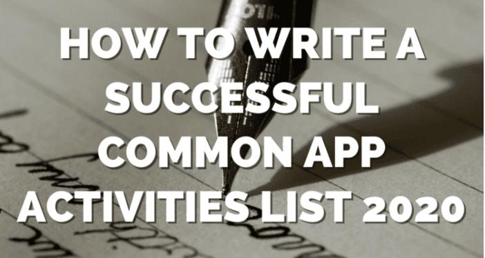 Common App Activities List Image