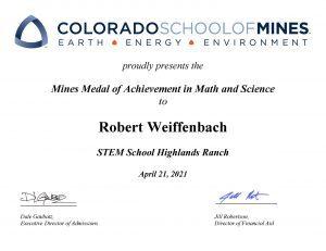 Mines Medal of Achievement - Weiffenbach, Robert