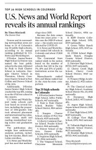 Denver Post Article on School Rankings