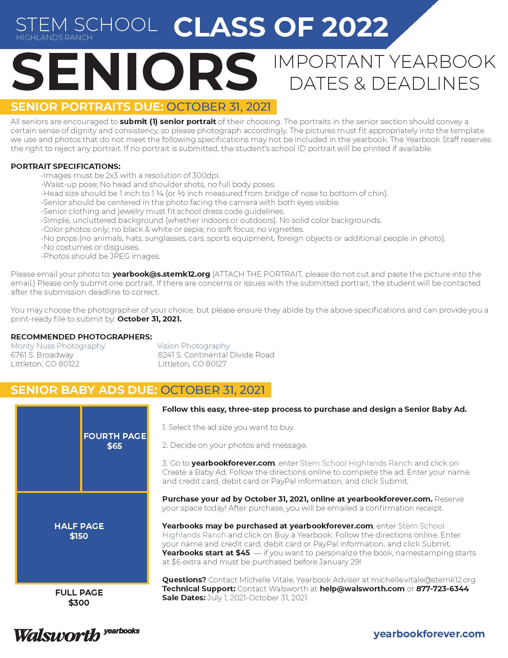 STEM School Highlands Ranch_2022 Senior Important Yearbook Dates and Deadlines