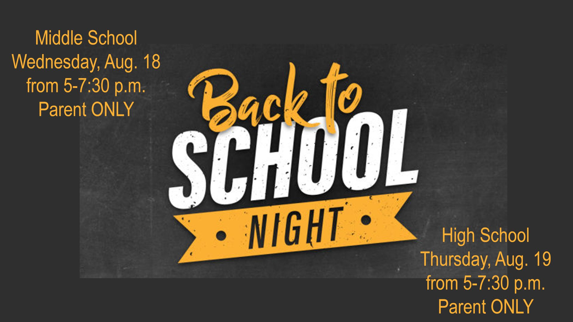 Middle and High School Back to School Nights