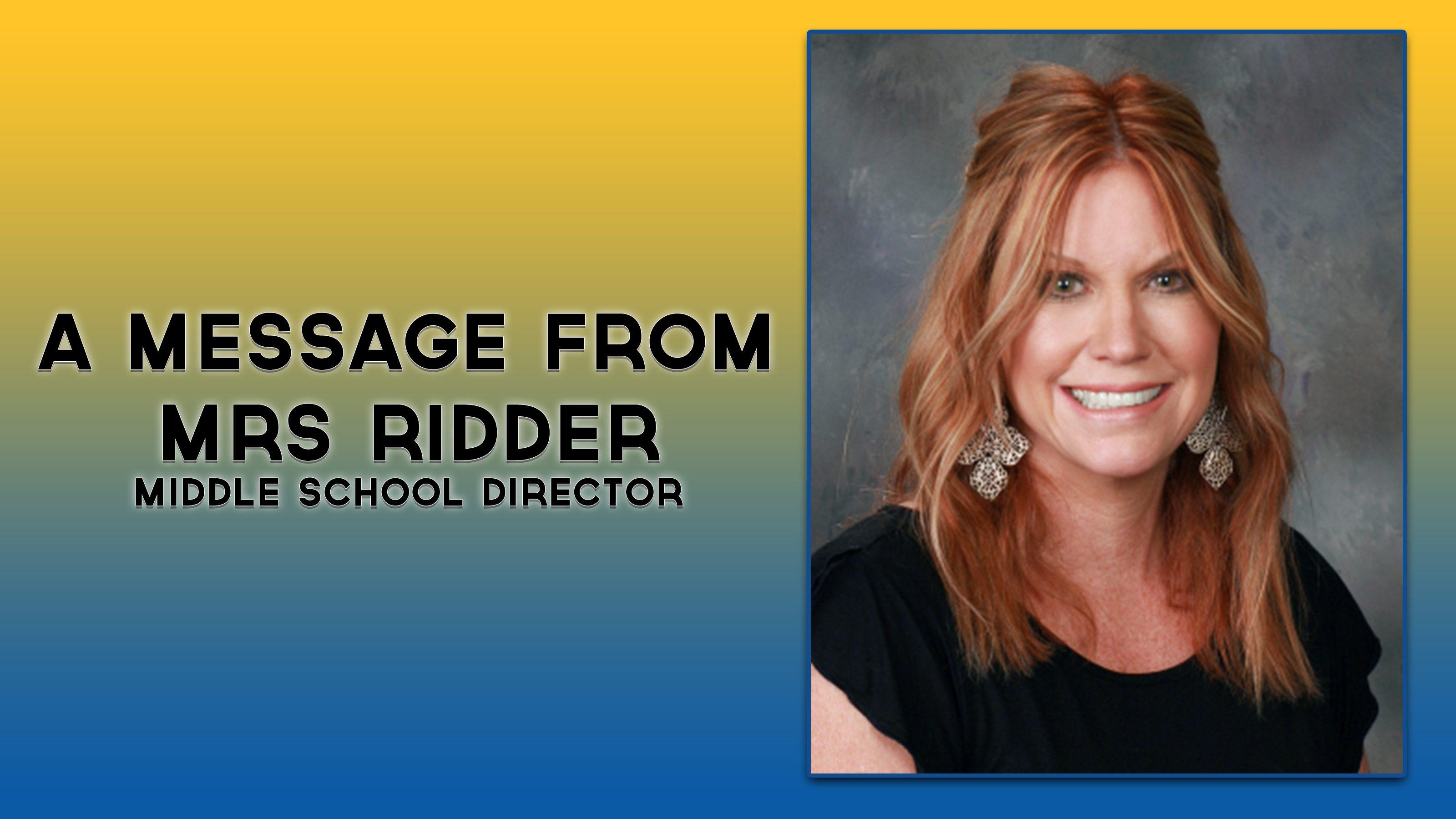 A Message from Mrs Ridder